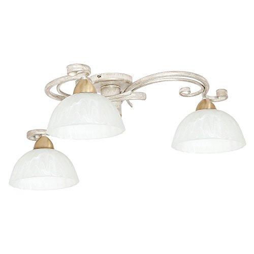 Deckenleuchte Shabby Chic Weiß 3x E27 bis 60W Deckenlampe Landhaus rustikal Esszimmer Lampe Decke Wohnzimmer