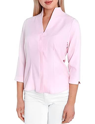 HEVENTON Damen-Bluse mit Kelchkragen Hemd-Bluse Stehkragen bgelleicht Business 3/4 rmel 1205 Color Rosa, Size 40