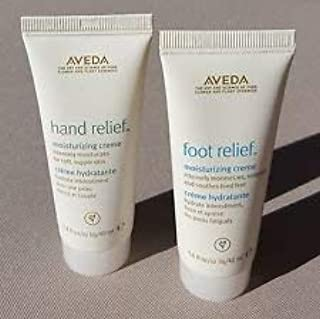 Aveda Hand Relief and Foot Relief Moisturizing Creme Set (one of each) - Deluxe Travel Sizes, 1.4 Oz Each