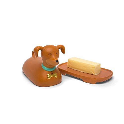 BigMouth Inc Ceramic Dog Butter Dish, Brown