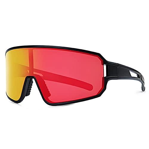 Polarizado Gafas Ciclismo,Pantalla Completa TR90 Gafas De Sol Deportivas Ligero Sostenible Gafas De Sol Para Hombres Mujeres Corriendo Ciclismo De Montaña Escalada-Negro y rojo 13x12.5x5cm(5x5x2inch)