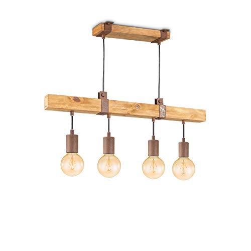 Lámpara de techo vintage con 4 focos corta Denton, luminaria de led con certificado de DEKRA con un diseño industrial y rústico con casquillo E27, clase de eficiencia energética A+