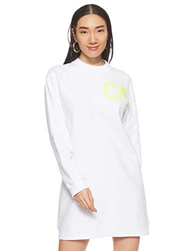 Calvin Klein Jeans Logo Knit W Kleid Bright White/Safety Yellow