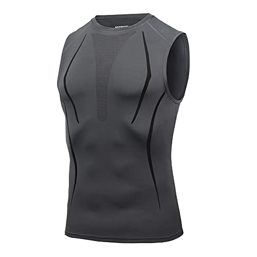 AMZSPORT Camiseta de Compresión Sin Mangas para Hombre, Chaleco de Gimnasio de Secado Rápido Capa Base para Correr, Gris XL