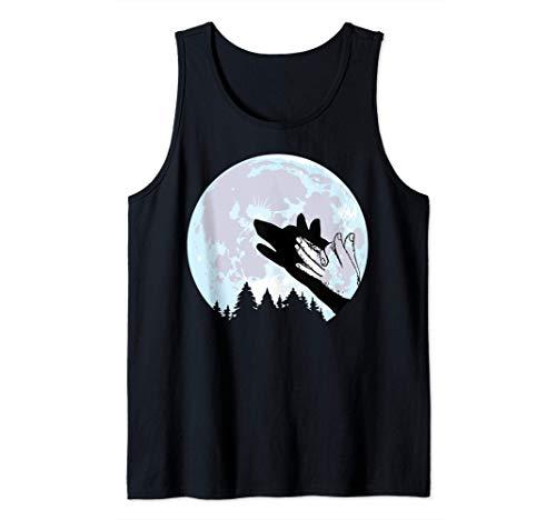 Lobo En Luna Fogata Mano Silueta Halloween Tee Camiseta sin Mangas