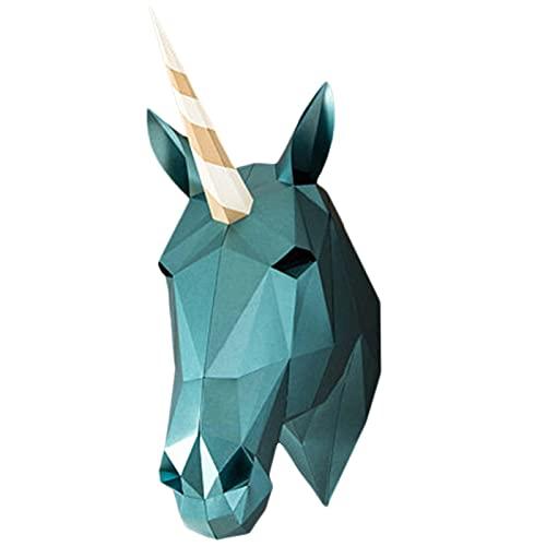 WLL-DP Trofeo De Papel con Apariencia De Cabeza De Unicornio, Decoración De Pared Geométrica 3D, Rompecabezas De Origami, Escultura De Papel DIY, Modelo De Papel De Juego Hecho A Mano