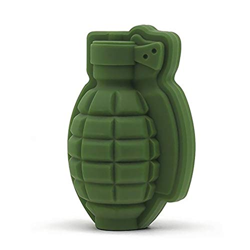 KTSM-Stop-T Reutilizable Creative 3D Grenade Forma Molde Bandeja Helado Maker Party Bar Bebidas Whisky Wine Ice Fabricion Bar de Silicona Accesorios para Hacer Cubitos de Hielo (Color : Green)