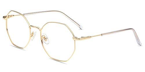 Firmoo Polygon Brille Blaulicht entspiegelt ohne Sehstärke Damen Herren, Blaulichtfilter Computer Brille gegen Kopfschmerzen, PC UV400 Schutzbrille Metall Gold