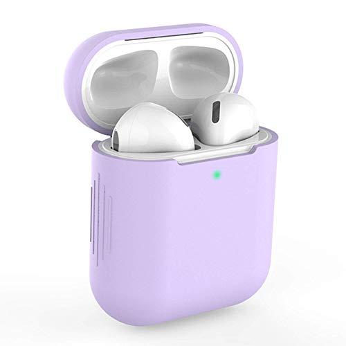 KLUCK Schutzhülle für Apple Airpods 1 und 2 Silikon Hülle Airpod Hülle Passexakt (Helles Lila)