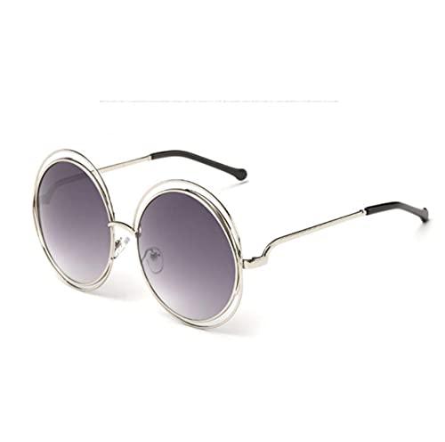 Gafas de sol deportivas, Vintage redondo de gran tamaño lente espejo gafas de sol mujeres marco de metal gafas de sol Cool Retro