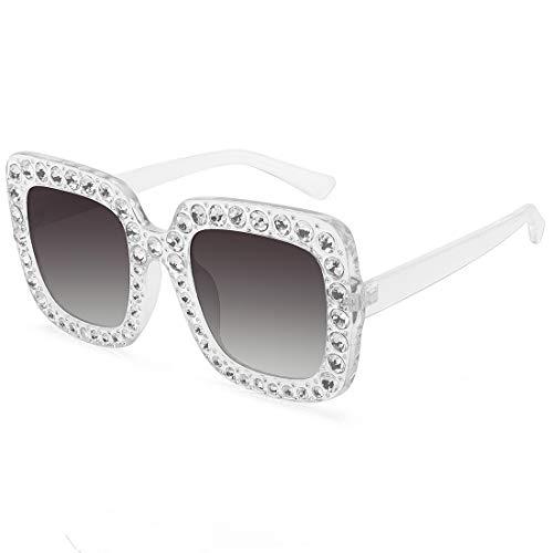 ROYAL GIRL Elton Square Rhinestone Sunglasses Oversized Diamond Bling Bling Glasses (Clear Gray Gradient Frame, 67)
