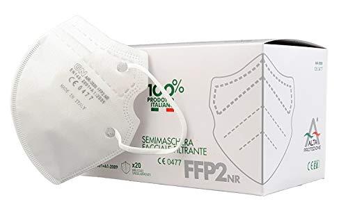 ALTA PROTEZIONE AIR-2020 - Mascherine FFP2 Certificate - Sistema Nasale Antiappannamento - Mascherina Antiappannamento - Confezionate singolarmente - 20 pezzi