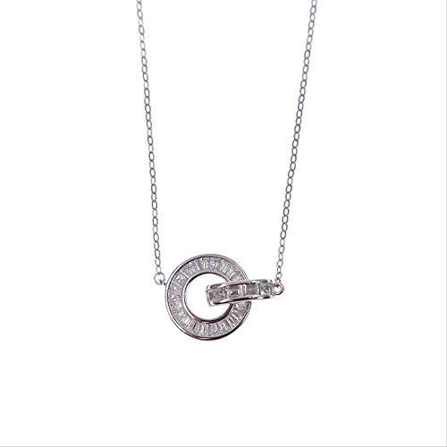 ZHIFUBA Co.,Ltd Collar Europa y el S925 Diamante con Incrustaciones de Plata Pura Anillo Doble Hebilla Collar Cadena Anillo Circular Collar de circón Regalo de Mujer