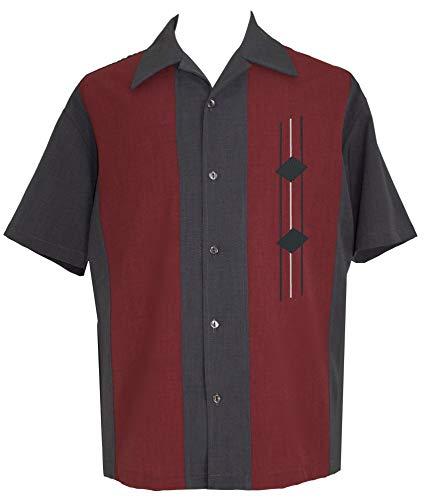 Lucky Paradise Mens Retro Camp Short-Sleeve Bowling Shirt DiVino Charcoal Grey