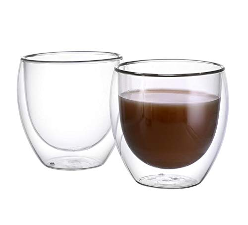 CnGlass Double Wall Glasses Espresso Cups 8.5 oz,Insulated Glass Coffee Cup Set of 2 Clear