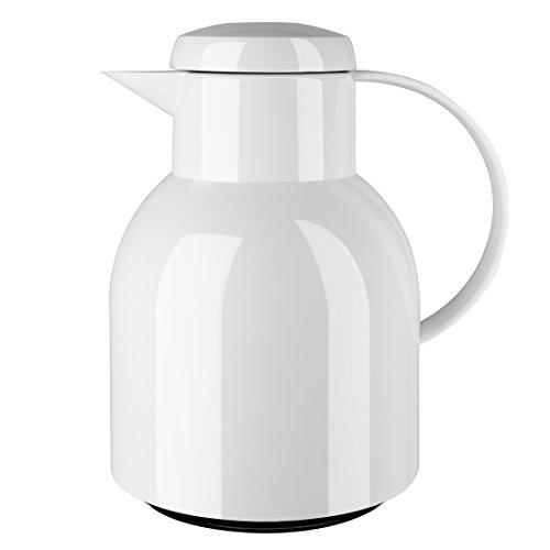 Emsa Samba Isolierkanne 504229 | 1 Liter | Quick Press Verschluss | 100% dicht | 12h heiß, 24h kalt | Weiß