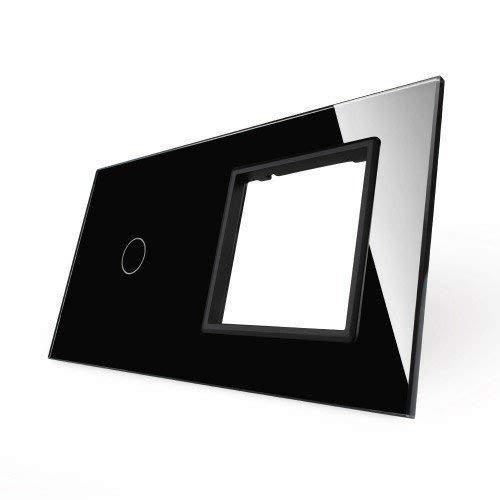 LIVOLO VL-C7-C1/SR-12-A - Panel de cristal con 2 interruptores táctiles, color negro
