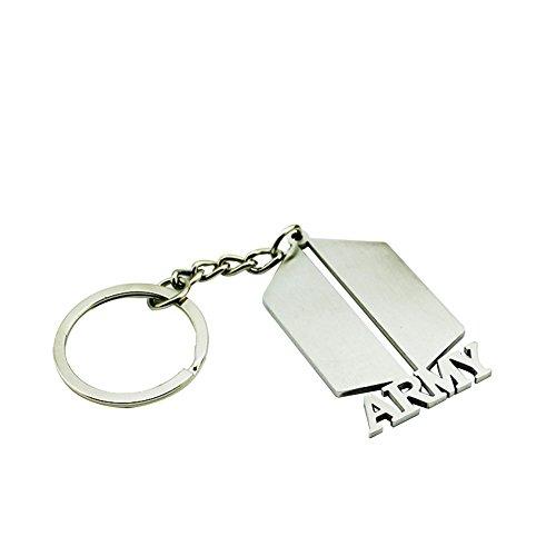 Bestomrogh Kpop BTS Army Bullet Type Nouveau Logo en Acier Titane Porte-clés en Métal Le Cadeau Parfait pour Les Fans
