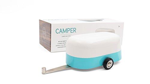 Candylab Toys Wooden Car, Blue Camper Model, Modern Vintage Trailer, Collectible Toy Cars for Kids, Solid Beech Wood