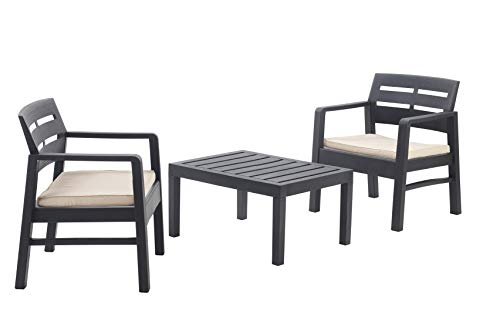 IPAE Wood Grain Effect Plastic Garden Furniture Set Table and Chairs Set Set Of 2 Large Arm Chairs and Table Patio Set Garden Set Rattan Style