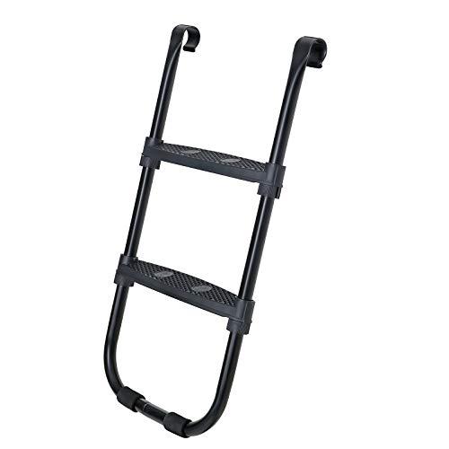 SONGMICS Trampolinleiter, rutschfeste Leiter für Trampoline, 90 cm hoch, mit Metallgestell, mit Breiten Stufen, schwarz SLD90BK