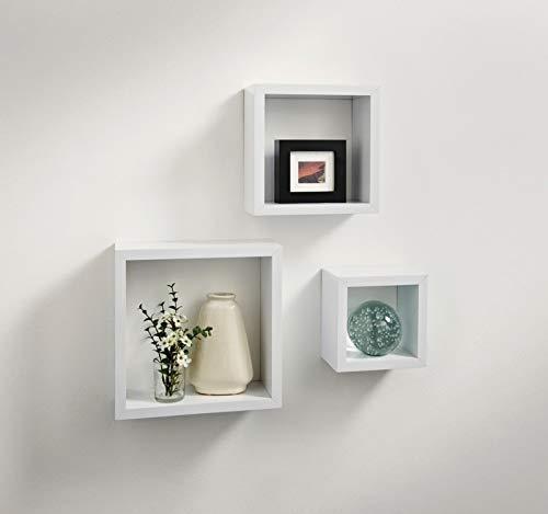 spot on dealz Cali Wall Floating Cube Box Shelf/Shelves Set of 3 Wall Hanging Display Shelving Unit-White