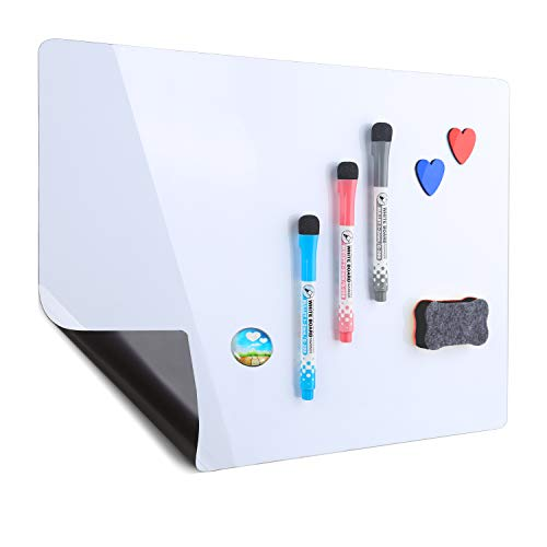 Magnetic Refrigerator Whiteboard 17''x12'',Stain Resistant Technology,Dry Erase Fridge Whiteboard, 3 Magnetic Makers, 1 Magnetic Button, 1 Eraser and 2 Hearts Included