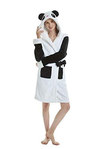 Einhorn Schlafanzug Damen Winter Pyjama Bademantel Flanell Tiere Ankleiden, Panda, L: (Passend für Höhe 165-175 cm )