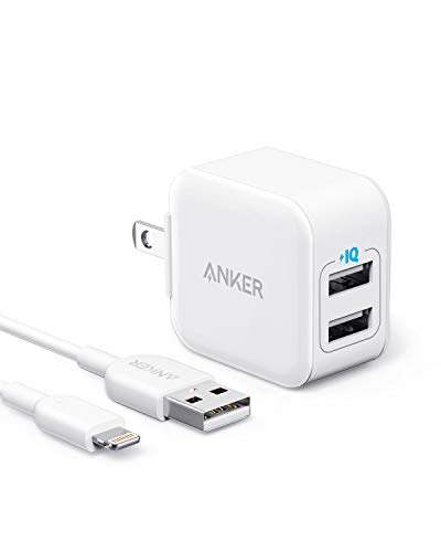 iPhone Charger, Anker PowerPort III 2-Port 12W USB Wall Charger with 3ft MFi Certified Lightning...