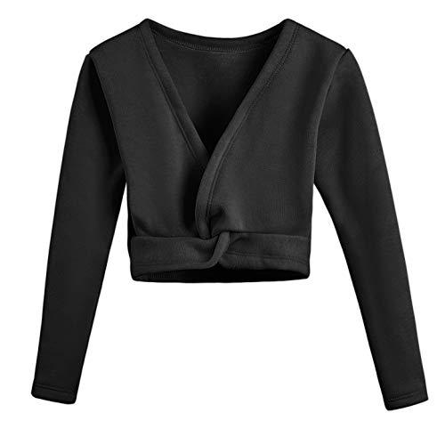 DANSHOW Kids'Long Sleeve Wrap Tops Leotards for Girls Dance Ballet Cardigan Dress(150cm,Black)