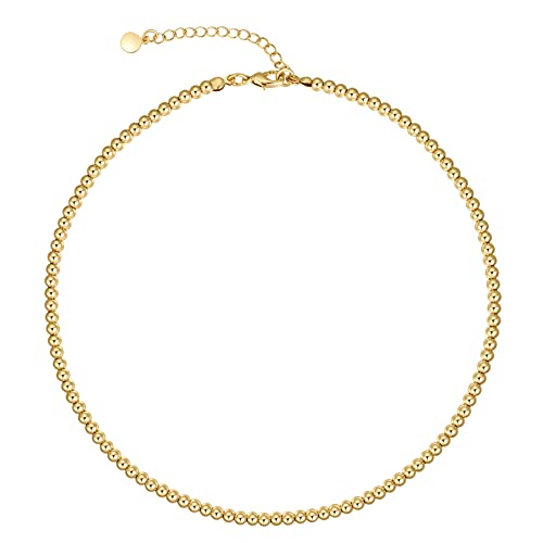 NUZON 14K Gold Plated Snake Chain Choker Thick 5MM Flat Herringbone Link Necklace Dainty Jewelry Gift for Women Girls 14''
