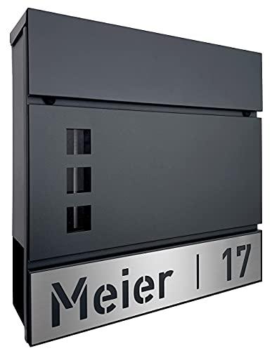 AlbersDesign - Briefkasten mit personalisierter Edelstahlblende (mit Name & Hausnummer) - anthrazit, ähnlich RAL7016…