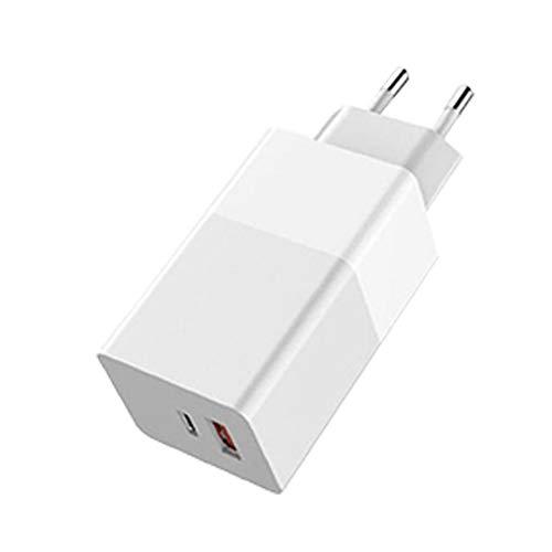 Canjerusof Fast USB Plug Cargador de teléfono 65W GAN Cargador Cargador de teléfono móvil Quik de Carga portátil para el Ordenador portátil teléfono Blanco