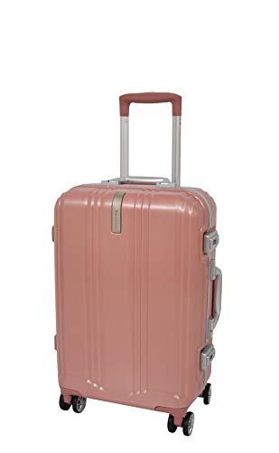 Cabin Size Hand Luggage 4 Wheels TSA Locks Metal Frame Carry On Suitcase Travel Bag A903 Rose Gold