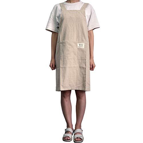 LeerKing Delantal Cruzado Japones de Algodón 100% con 2 Bolsillos Mandiles Cocina Trabajo Jardinería Servicio para Hombre y Mujer, Beige 75CM