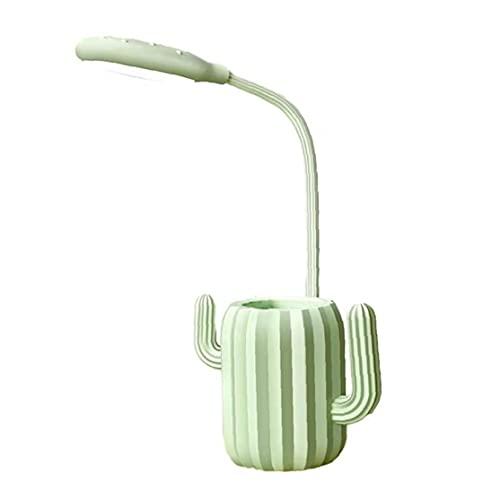 MICHAELA BLAKE Tabla del Escritorio de Protección de los Ojos de la lámpara LED de la lámpara de Escritorio en Forma de Cactus Luz de Lectura táctil luz Verde con el Titular de la Pluma