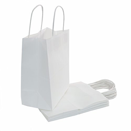 100 | 50 | 25 Count - Size (8'x4.75'x10') Bulk White Paper Bags with Handles - Perfect Solution for Baby Shower, Birthday Parties, Gifts, Restaurant takeouts, Shopping, Retail