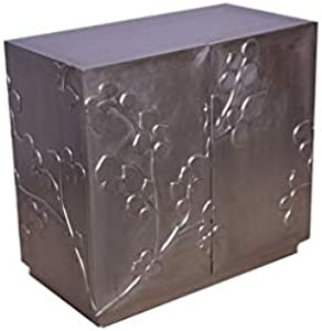 Gaetan Silver Cabinet for Storage, Designer Storage Chest for Living Room, Bed Room, Dining Room, Silver Antique Finish