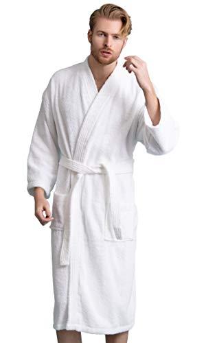 Men's Robe, Turkish Cotton Terry Kimono Spa Bathrobe (White, Large)