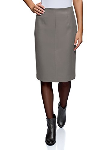 oodji Collection Women's Faux Leather Straight Skirt, Black, 8