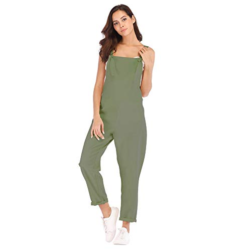 Aniywn Women's Strap Overall Summer Rompers Pants Casual Solid Sleeveless Long Playsuit Jumpsuits with Pocket Army Green