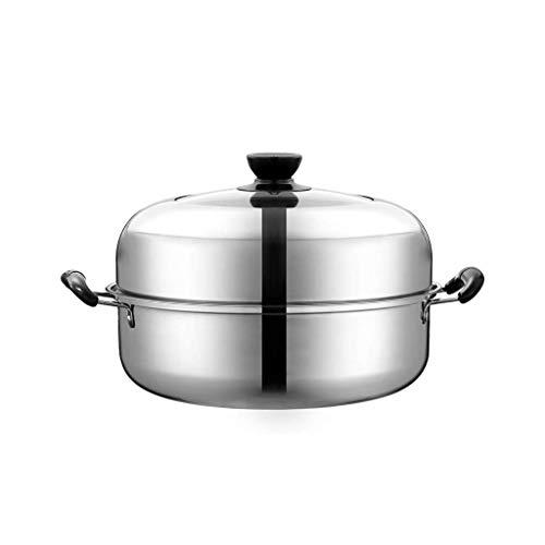 XXDTG In Acciaio Inox for Tutti Gli Usi Vapore con Coperchio Pentole, Coperchio Argento Vetro temperato Cook Stock Pot Forno
