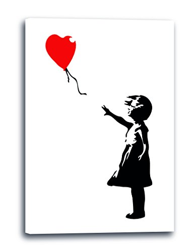 Leinwand (40x60cm): Banksy Balloon Girl Mädchen mit Luftballon Street Art