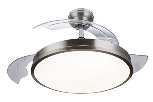 Philips Lighting Atlas Deckenventilator mit LED-Licht und Fernbedienung, 35 W, Nickel, 106 x 43 cm
