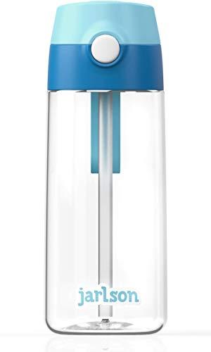 JARLSON® Trinkflasche Kinder - Wasserflasche 500ml - BPA frei - auslaufsicher - Kinderflasche mit Strohhalm - Tritan Flasche für Schule, Kindergarten, Fahrrad… (Blau)