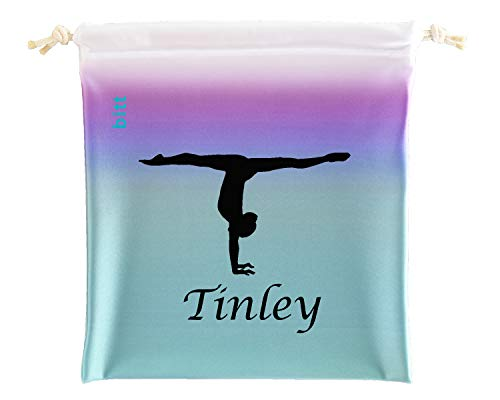 Gymnastics Grip Bag with Gymnast Handstand in Ombre Colors - Customized Bag, Swarovski Crystals Option (Teal Purple Ombre)