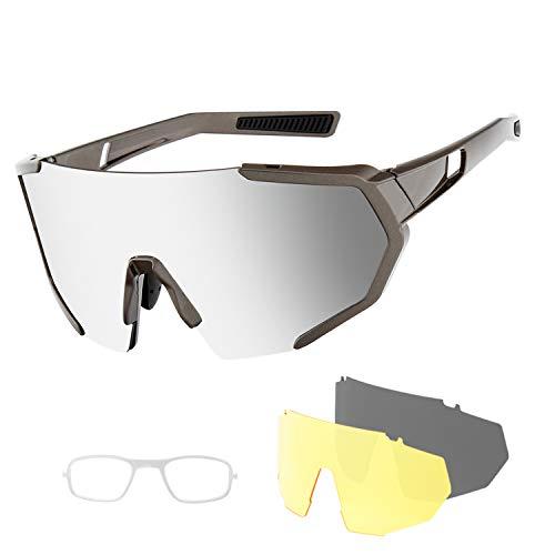 Gafas de ciclismo deportivas polarizadas con protección UV 3 lentes intercambiables para hombre y mujer, para actividades al aire libre como ciclismo, correr