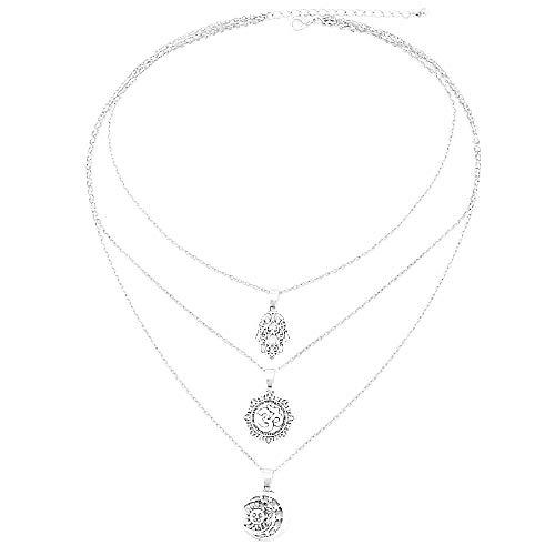 Vrouwelijke ketting - vrouw - hand van fatima - meisje - zon - boeddha - om - maan - lotusbloem - levensbloem - multilayer - multiwire - origineel cadeau-idee - zilver - verjaardag - kerstmis