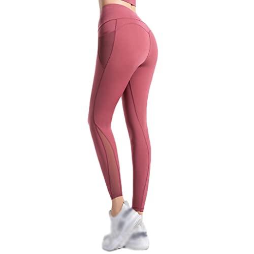 LICHUXIN Damen Leggings Yoga mit Tasche Hohe Taille Sport Pants Stretch Yoga Hosen Pants für Gym Yoga Workout Laufen tägliche Freizeit (Color : Wine red, Size : S)