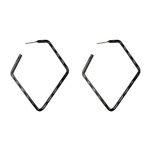 HAHADONG Pendientes de Diamantes de Lujo Ligeros exagerados geométricos,Aretes Colgantes,Halo Geométricos Plata Pendientes Largos Colgantes Inoxidablede Piercing Arete Pequeño Pendientes-A